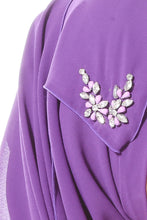 Chiffon Shawl with Embellishments - Purple