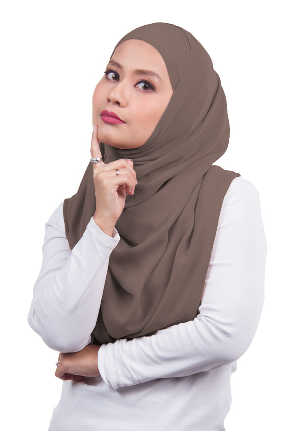 Arissa Chiffon Shawl - Coffee