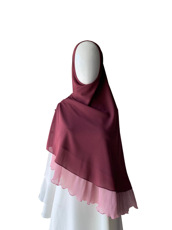 Khimar with Pleats - Plum
