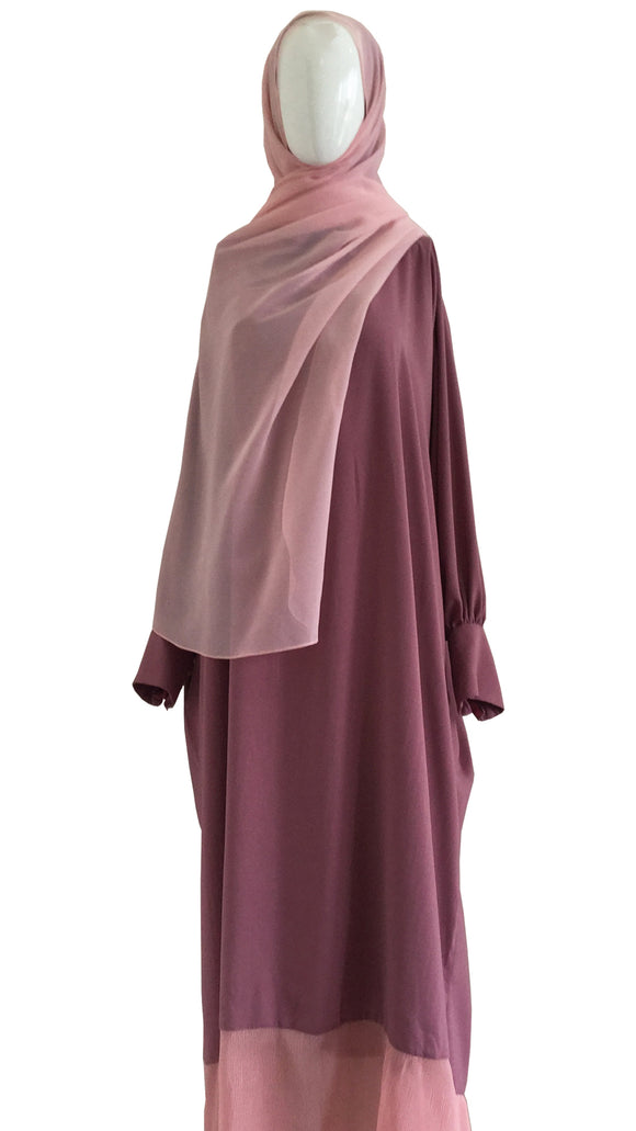 [PRE ORDER] Cotton Telekung Dress - Dusty Orchid Pink
