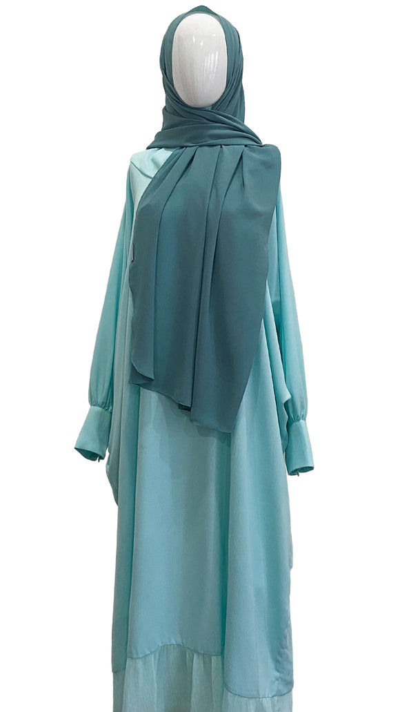 [PRE ORDER] Cotton Telekung Dress - Icy Blue