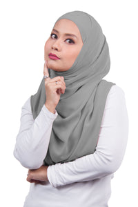 Arissa Chiffon Shawl - Light Grey