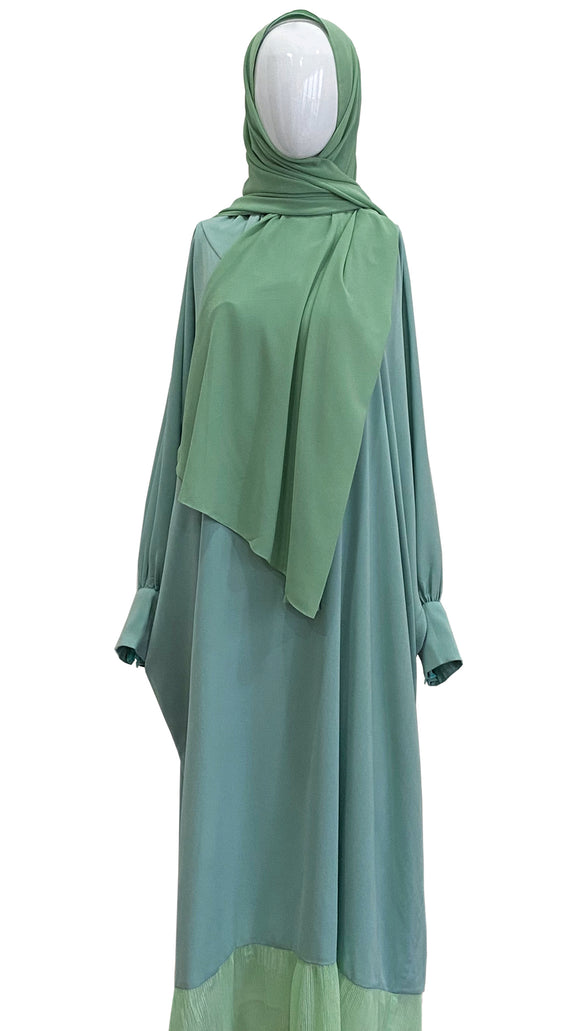 [PRE ORDER] Cotton Telekung Dress - Mint Green