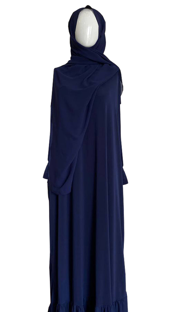 [PRE ORDER] Lycra Telekung Dress - Navy Blue
