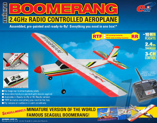 eRC Micro Boomerang Indoor/Outdoor Electric RC Plane - RTF