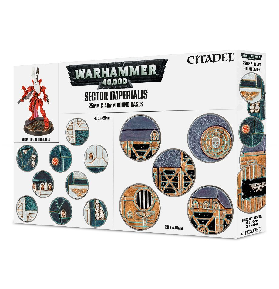 Warhammer 40K Sector Imperialis 25 & 40mm Round Bases