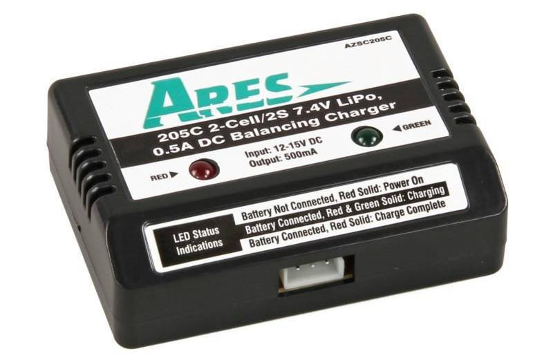 Ares DC Balancing Charger 0.5A, 0.5205C 2-Cell/2S 7.4V LiPo (Gamma 370)
