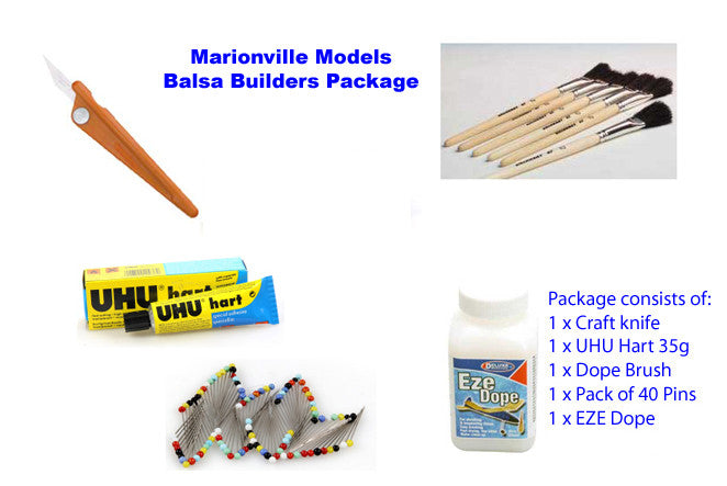 tools and glue for building balsa model kits