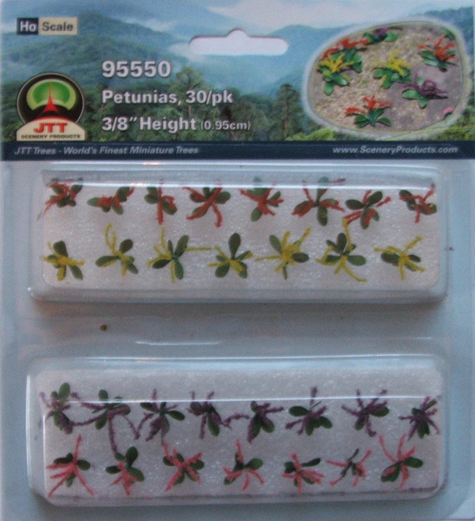 JTT 95550 Petunias Assorted, 3/8, HO-Scale, (30 per pack)
