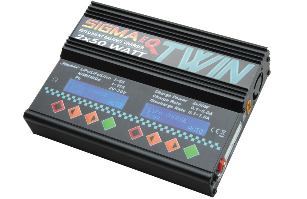 Ripmax Sigma EQ Twin AC/DC Battery Charger (2x 50W)