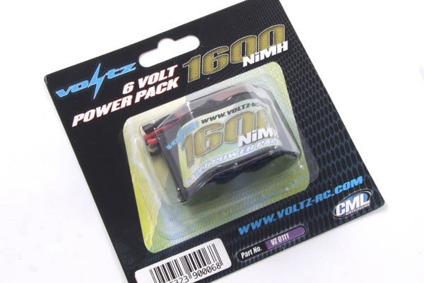 Voltz 1600mAh 6.0V Receiver Pack (JR Plug) - Hump Pack
