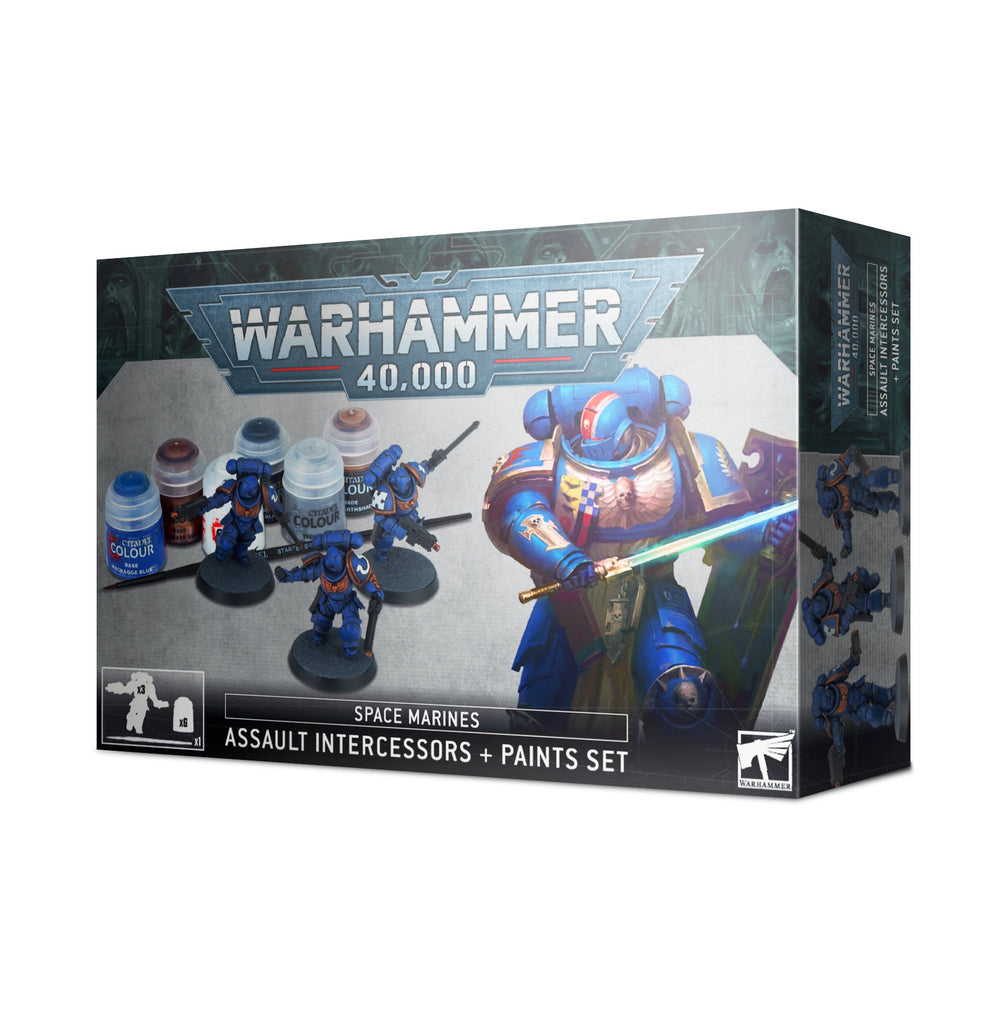 Warhammer 40k Space Marines: Assault Intercessors + Paints Set