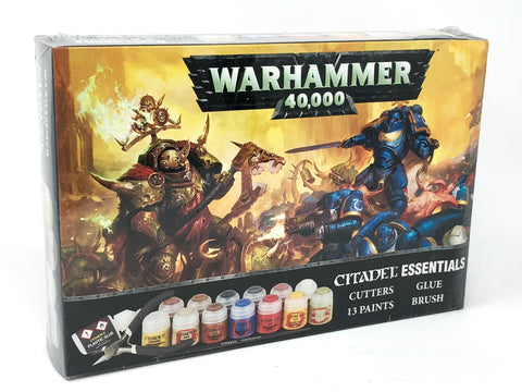Warhammer 40K Citadel Essentials - Cutters, Glue, Paints & Brush Set