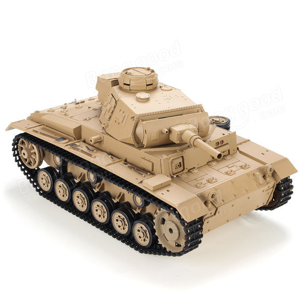 Henglong 1:16 German Tauch Panzer III (2.4GHz+Shooter+Smoke+Sound) RC Tank - RTR