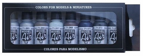 Vallejo Model Air Metallic 8 Colour Paint Set