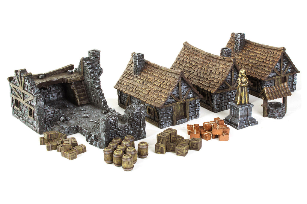 Gamemat eu 28mm Medieval Houses Terrain Set for Warhammer, Age of Sigmar