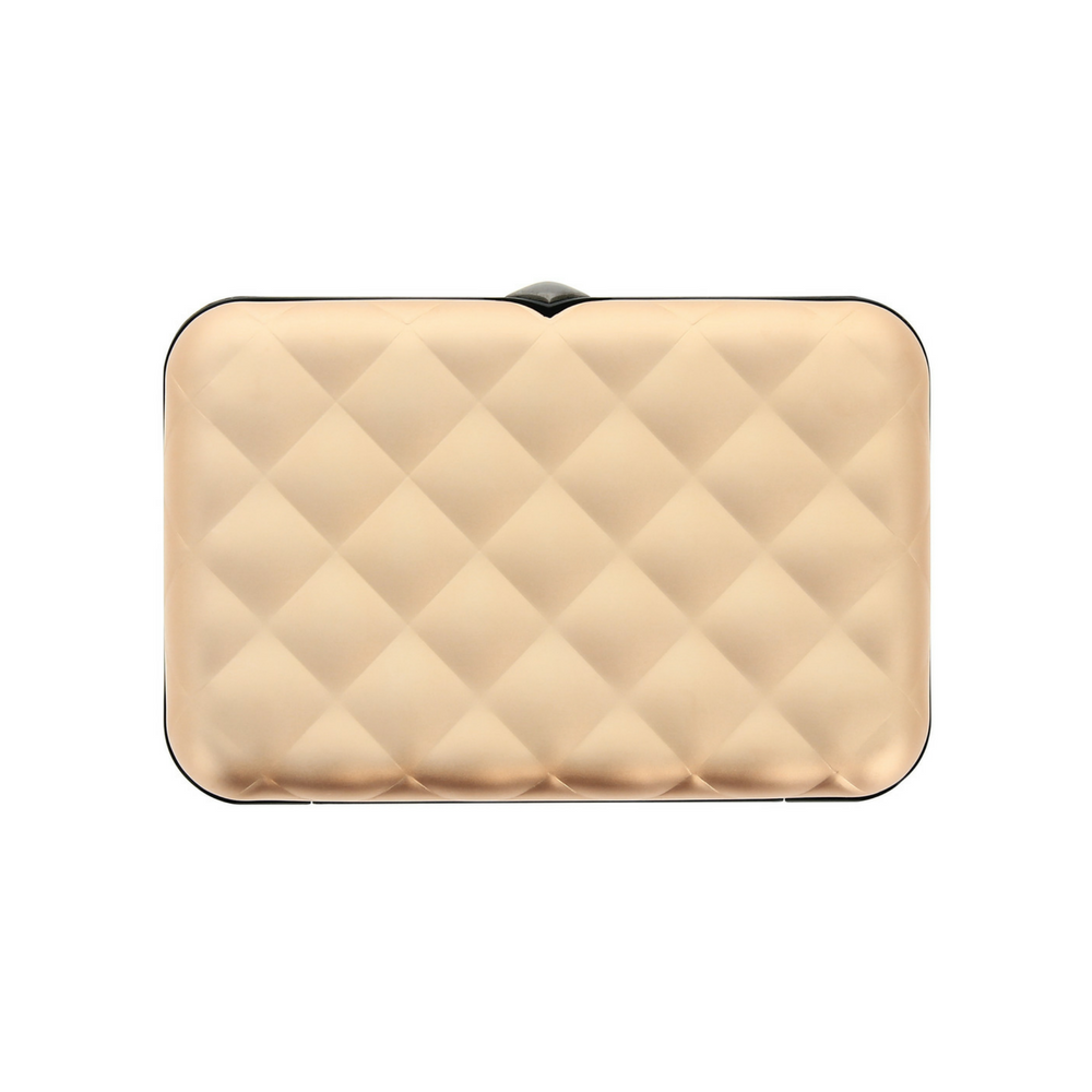 Ögon Rose Gold Quilted Button Aluminum Wallet