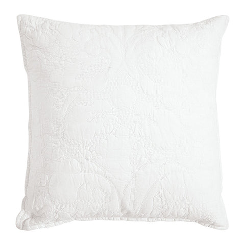 CUSHION COVER Quilted Plain White with White Stitching