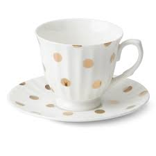 TEACUP AND SAUCER White with Gold Spots