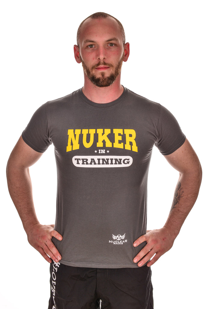 Mens Grey Nuker in Training Cotton T-shirt Clearance 50% Off