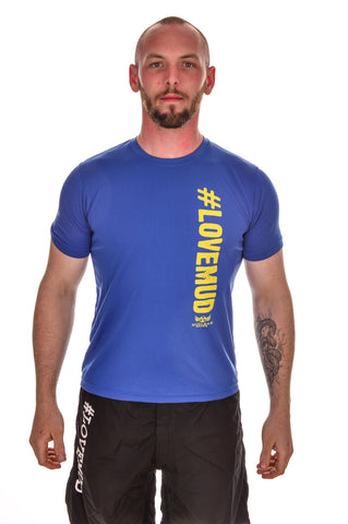 Mens blue #LoveMud Technical T-shirt