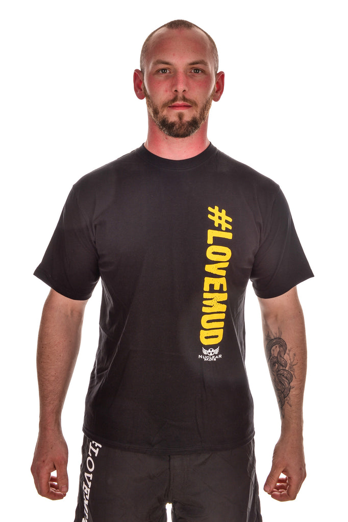 Mens Black #LoveMud Cotton T-shirt Clearance 50% Off
