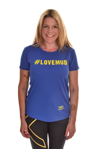 Ladies Blue #LoveMud Technical T-shirt