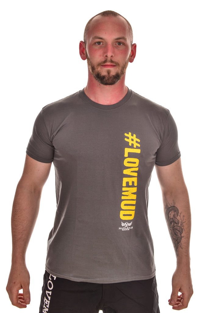 Mens Grey #LoveMud Cotton T-shirt