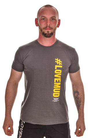 Mens Grey #LoveMud Cotton T-shirt Clearance 30% off