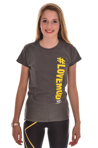 Ladies Grey #LoveMud Cotton T-shirt Clearance 30% off