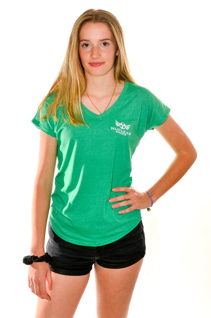 Clearance Ladies Green V neck triblend T-shirt 60% off