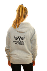 Grey Unisex Fluffy Nuclear Races Zip Hoodie