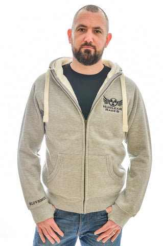 Grey Unisex Fluffy Nuclear Races Zip Hoodie Clearance 40% off