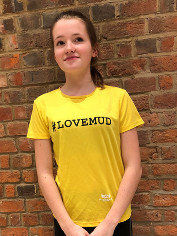 Ladies Yellow #LoveMud Technical T-shirt Clearance 50% Off