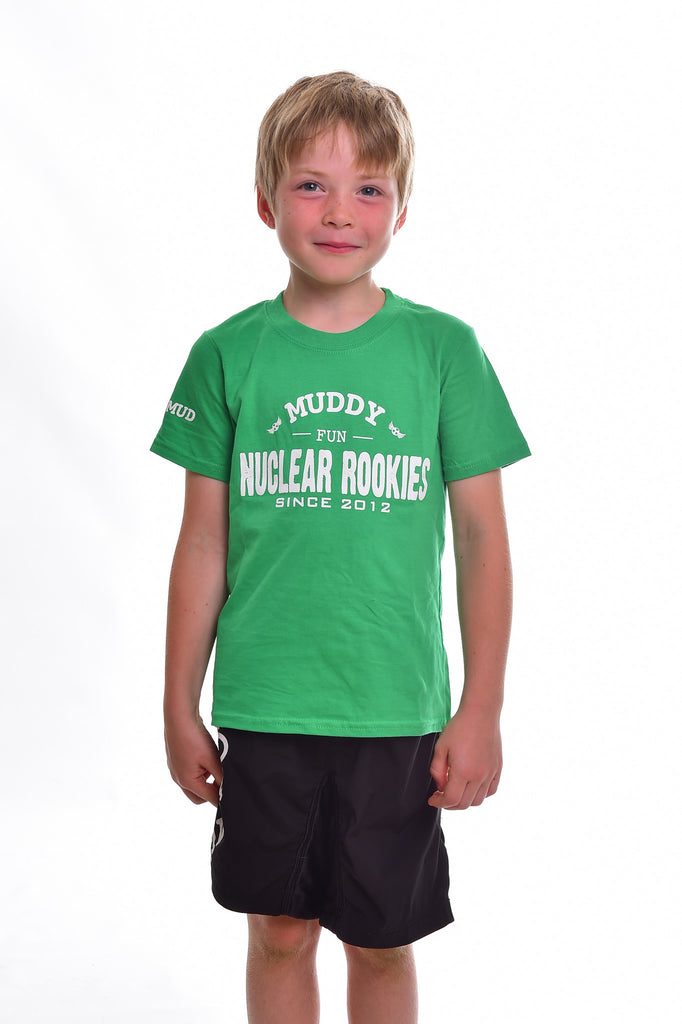 Kids Green Cotton Muddy Fun T-shirt