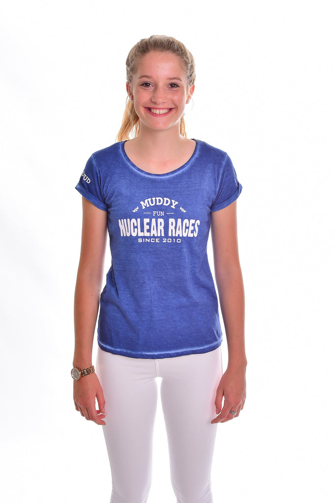 Ladies Blue Muddy Fun Cotton T-shirt Clearance 40% off