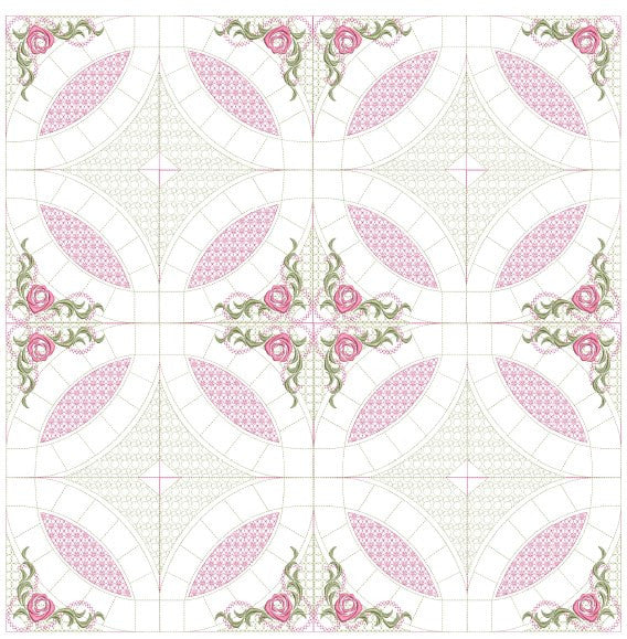 Mock Double Wedding Ring Quilt 5x5 | Pixies Rule