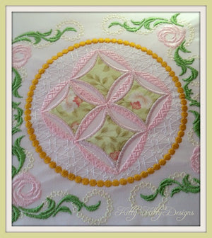 Heirloom Mock Cathedral Windows Quilt 5x7 - Pixies Rule  - 1