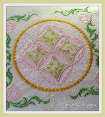 Heirloom Mock Cathedral Windows Quilt 8x8