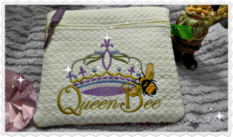 Queen Bee 8x8 Zipper Pouch