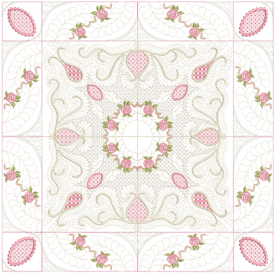Bullion Rose Trellis Quilt - 8x8