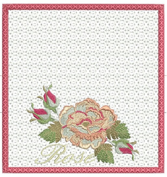 Cabbage Rose Checkbook Cover 8x8