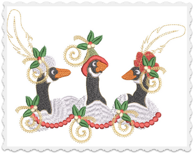 Christmas Geese Pillow -3 Part - 7x11