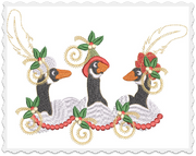 Christmas Geese Pillow -3 Part - 8x8