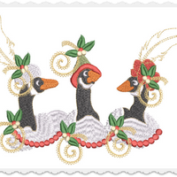 Christmas Geese Pillow -3 Part - 6x10