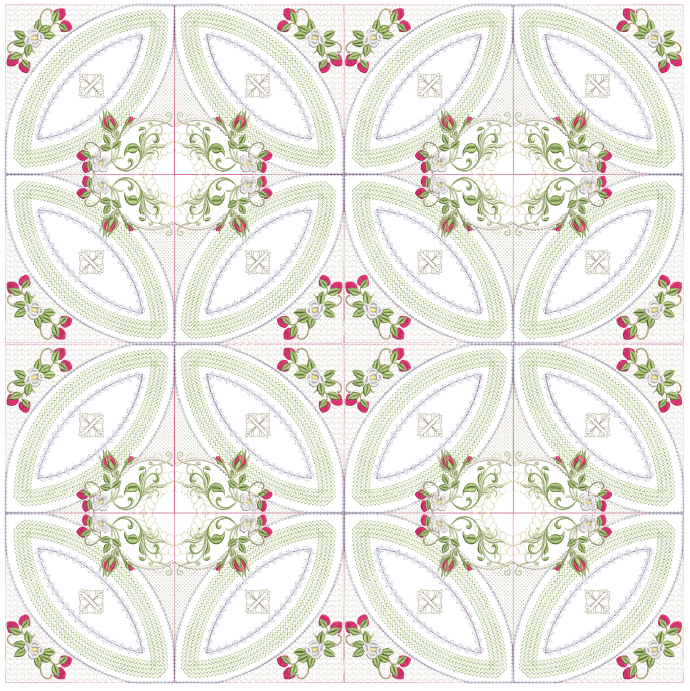 Double Wedding Ring Quilt Pattern.Mock Double Wedding Ring Berries Blooms Quilt 8x8
