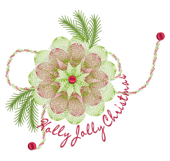 Holly Jolly Poinsettia Bow 8x8