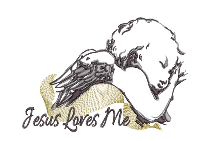 Jesus Loves Me - Sleeping Angel 5x7