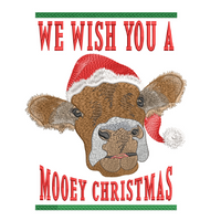 Wish You A Mooey Christmas 5x7