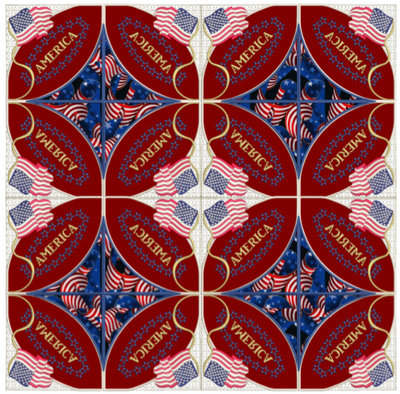Patriot Double Wedding Ring Quilt 8x8